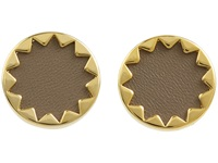 House Of Harlow Sunburst Button Earrings With Khaki Leather 14K Yellow Gold Plated Earring
