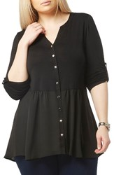 Evans Plus Size Women's Mixed Media Split Neck Shirt Black