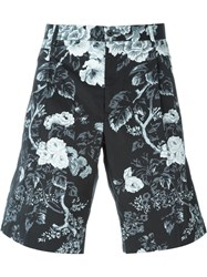 Dolce And Gabbana Floral Print Tailored Shorts Black