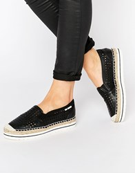 Love Moschino Perforated Espadrille Flat Shoes Black