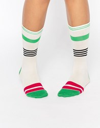 Jonathan Aston Striped Sock Green