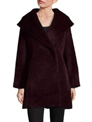 Trina Turk Long Sleeve Wool Blend Coat Wine Navy