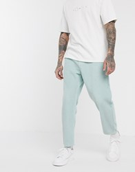Asos White Tapered Cord Trousers In Pastel Blue