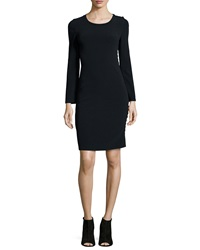 Calvin Klein Collection Filipa Long Sleeve Button Side Sheath Dress Black