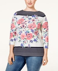 Charter Club Plus Size Printed Boat Neck Top Only At Macy's Cloud Combo