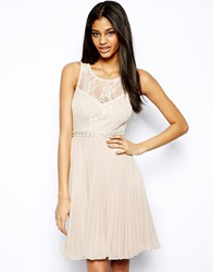 Elise Ryan Lace Midi Dress With Embellished Waist Nude Pink