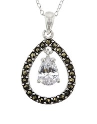 Lord And Taylor Marcasite Sterling Silver Teardrop Pendant Necklace