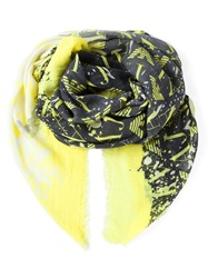 Armani Jeans Printed Scarf Yellow And Orange