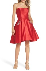 Blondie Nites Strapless Satin Fit And Flare Party Dress Red