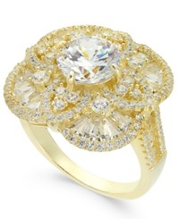 Macy's Cubic Zirconia Filigree Pave Ring In 14K Gold Plated Sterling Silver