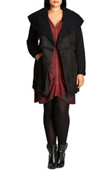 City Chic Plus Size Women's Faux Shearling Front Cardigan