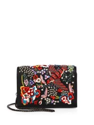 Alice Olivia Embellished Leather Bird Party Crossbody Bag Black Multi