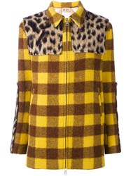 N 21 No21 Panelled Checked Coat Yellow Orange