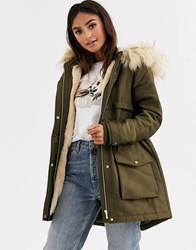 Pimkie Parka With Faux Fur Hood In Green