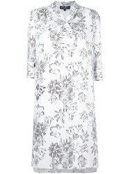 Salvatore Ferragamo Striped Overlay Floral Dress White