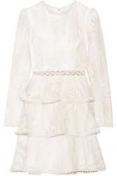 Zimmermann Maples Embroidered Crochet Lace Trimmed Silk Organza Mini Dress White