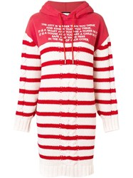 Each X Other Mix Media Striped Sailor Knit Hoodie Dress Red