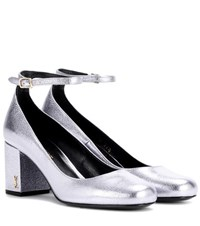Saint Laurent Babies 70 Metallic Leather Pumps Purple