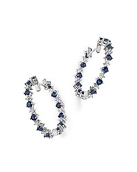 Bloomingdale's Diamond And Sapphire Inside Out Hoop Earrings In 14K White Gold