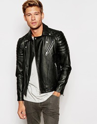 Selected Homme Leather Biker Jacket With Asymmetric Zip Black
