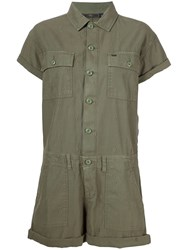 Obey Applique Detail Playsuit Green
