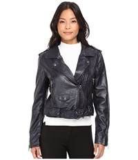 Blank Nyc Moto Vegan Leather Jacket In Uninvited Navy Women's Coat