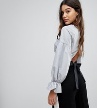Prettylittlething Bow Back Cropped Blouse Grey