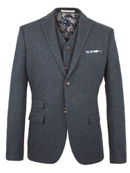 Racing Green Powell Herringbone Blazer Navy