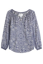 Velvet Printed Tunic Top Blue