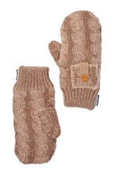 Muk Luks Braided Cable Mittens Brown