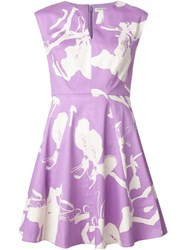 Halston Heritage Floral Print Flared Dress Pink And Purple