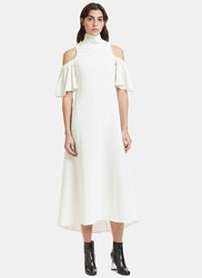 Ellery Deity Long Ruched Cut Out Shoulder Dress White