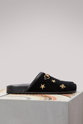 Gucci Bee Velvet Mules Black