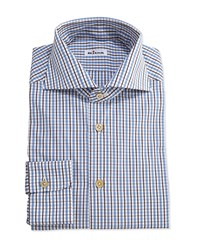 Kiton Tattersall Woven Dress Shirt Brown Blue