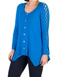Chesca Criss Cross Tunic Top Azure