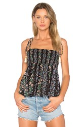 Needle And Thread Floral Stripe Tie Top Black