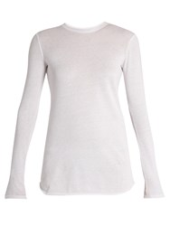 Vince Cotton And Cashmere Blend Long Sleeved T Shirt White