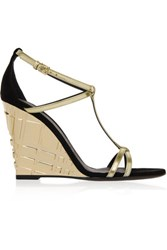 Burberry London Metallic Leather And Suede Wedge Sandals Gold