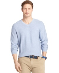Izod Allover Links V Neck Fine Gauge Sweater Lt Jn Htr