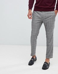 Kiomi Cropped Check Suit Trousers In Grey