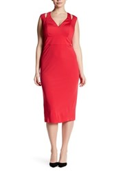 Abs By Allen Schwartz Cutout Shoulder Midi Dress Plus Size Red