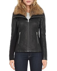 Soia And Kyo Fur Collar Leather Jacket Black