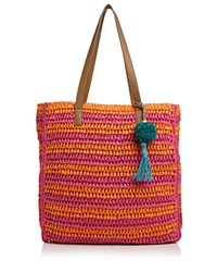 Echo Striped Straw Tote Dragonfruit Pink Multi Silver