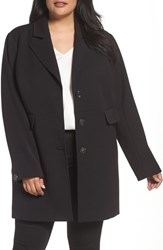 Kenneth Cole Plus Size Women's New York Single Breasted Ponte Coat Black