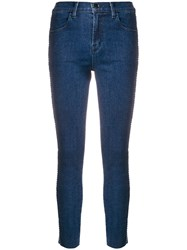 J Brand High Rise Cropped Skinny Jeans Blue