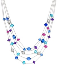 Style And Co. Silver Tone Purple And Blue Five Row Illusion Necklace