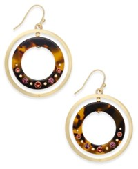 Kate Spade New York Out Of Her Shell Gold Tone Tortoiseshell Look Orbital Earrings