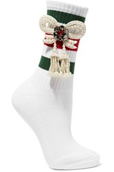 Gucci Little William Embellished Ribbed Cotton Blend Socks White