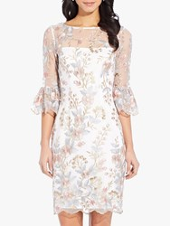 Adrianna Papell Embroidered Dress Pink Multi
