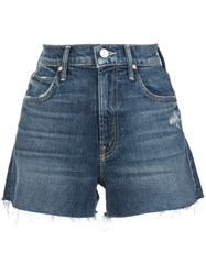 Mother The Dutchie Frayed Shorts Blue